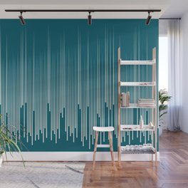 Off White Simple Minimal Frequency Line Art on Tropical Dark Teal Inspired by Sherwin Williams 2020 Trending Color Oceanside SW6496 Wall Mural