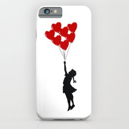 Girl With Heart Balloons iPhone Case