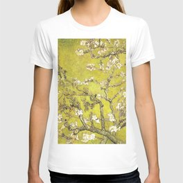 Vincent van Gogh Blossoming Almond Tree (Almond Blossoms) Gold Sky T-shirt