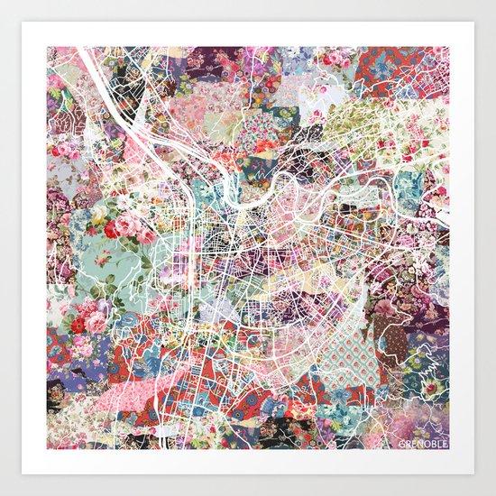 Grenoble map Art Print