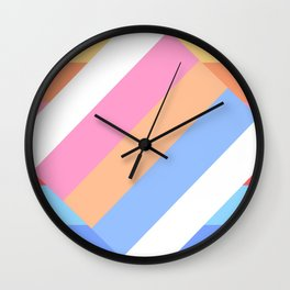 Matted Pastel Rainbow with White Wall Clock