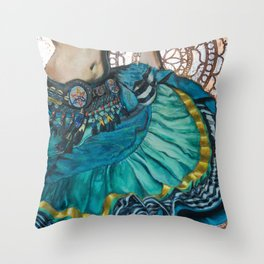 Turquoise Twirling Throw Pillow