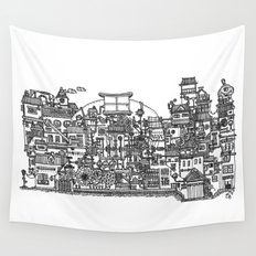 Busy City XI Wall Tapestry