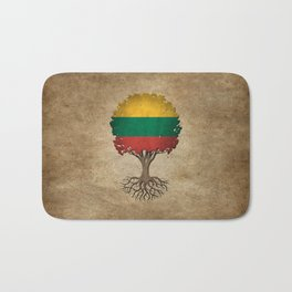 Vintage Tree of Life with Flag of Lithuania Bath Mat