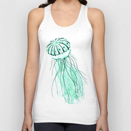 green jellyfish watercolor Unisex Tank Top