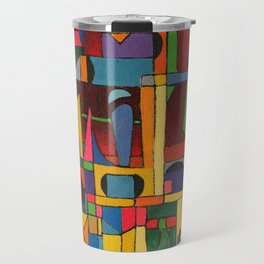 Colors In Collision 1 - Geometric Abstract of Colors that Clash Travel Mug
