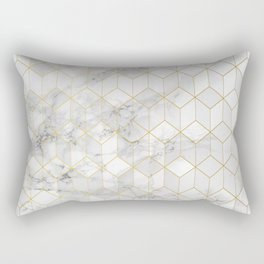 White Marble with Gold Cube Pattern Rectangular Pillow