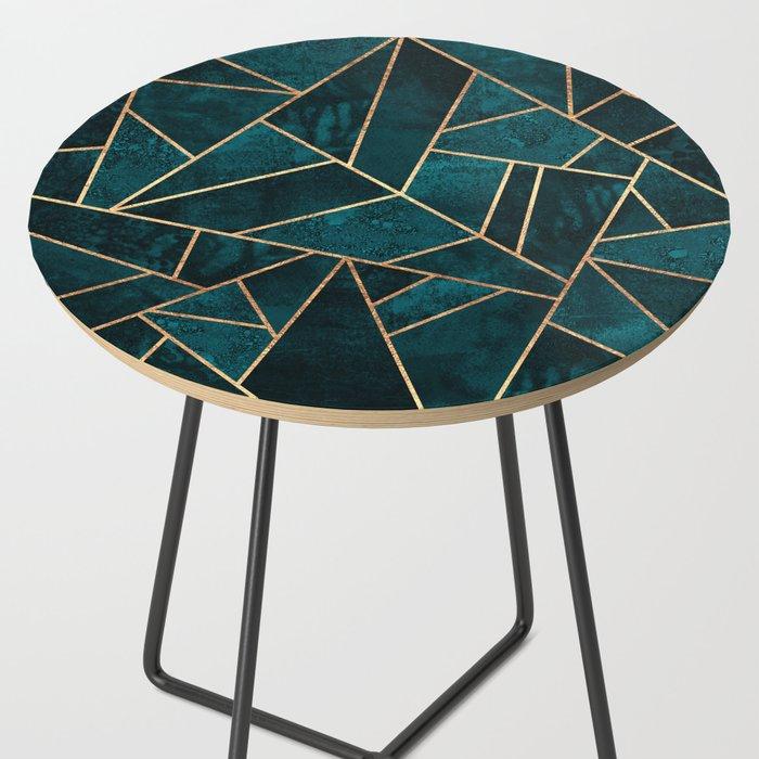 Deep Teal Stone Side Table