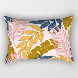Summer seamless tropical pattern with bright plants and leaves on a white background. Seamless exotic pattern with tropical plants. Tropic leaves in bright colors. Rectangular Pillow