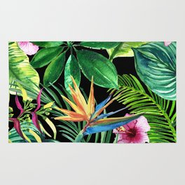 Watercolor illustration green summer tropical background with exotic palm leaves and hibiscus flower Rug