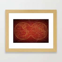 Antique Navigation World Map in Red and Gold Framed Art Print