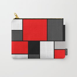 Red Black and Grey squares Carry-All Pouch