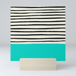 Aqua & Stripes Mini Art Print