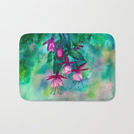 Watercolor fuschia flowers whimsical painting Bath Mat