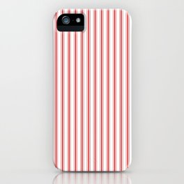 Mattress Ticking Narrow Striped Pattern in Red and White iPhone Case