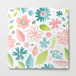 Floral Flora Leaves Pattern Spring Face Mask Metal Print