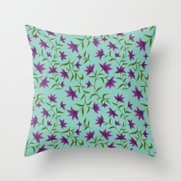 Purple Lilly in Turquoise Pattern  Throw Pillow