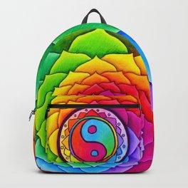 Healing Lotus Rainbow Yin Yang Mandala Backpack