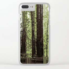 Northern California Redwood Forest Pixelart Clear iPhone Case