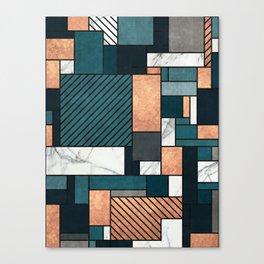 Random Pattern - Copper, Marble, and Blue Concrete Canvas Print