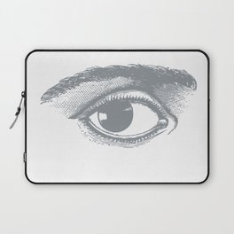 I see you. Gray on White Laptop Sleeve