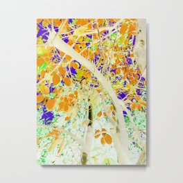 drawing tree with orange leaves and purple background Metal Print