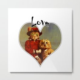 Owl And Pussy Cat Love Heart Design Metal Print