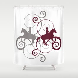 Dressage Horse Swirls Shower Curtain