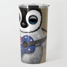 Baby Penguin Playing Australian Flag Guitar Travel Mug