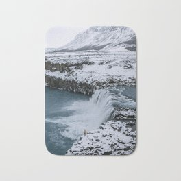 Waterfall in Icelandic highlands during winter with mountain - Landscape Photography Bath Mat