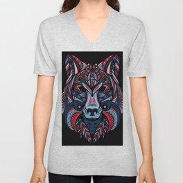 Wolf head art Unisex V-Neck