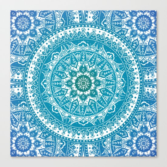 Aquamarine Mandala Pattern Canvas Print