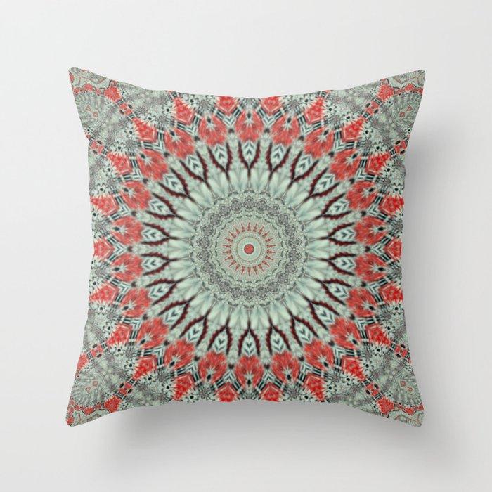 Red Blueish Wheel Mandala Throw Pillow