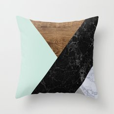 Mint Marble Wood Throw Pillow