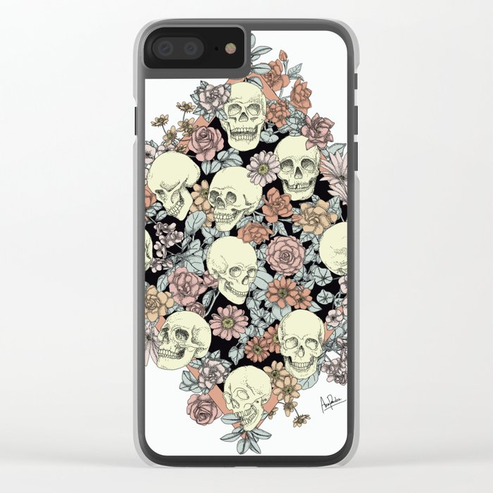 Blooming Skulls Clear iPhone Case