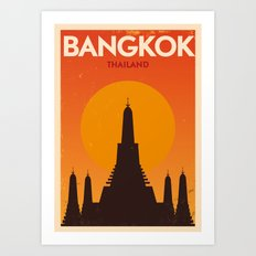 Bangkok City Retro Poster Art Print