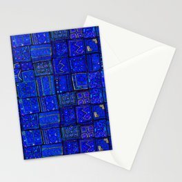 -A2- Lovely Calm Blue Traditional Moroccan Pattern Artwork. Stationery Cards