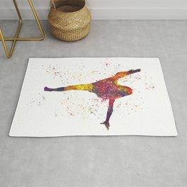 Girl competing.Rhythmic gymnastics in watercolor 06 Rug