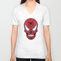 superheros V-neck T-shirts featuring Spidey Sugar Skull by Clark Street Press