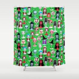 Spooky Dolls on Green Shower Curtain