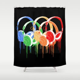 Colorful Headphones Shower Curtain