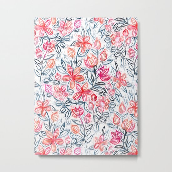 Coral and Grey Candy Striped Crayon Floral Metal Print