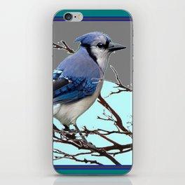 TEAL AMERICAN BLUE JAYS  GREY WINTER ART iPhone Skin