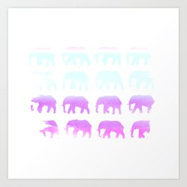 Rainbow Elephants on Parade Art Print