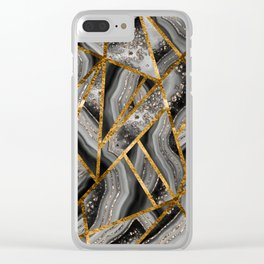 Black Night Agate Gold Geometric Glam #3 #geo #decor #art #society6 Clear iPhone Case