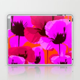 Pink And Red Poppies On A Orange Background - Summer Juicy Color Palette - Retro Mood Laptop & iPad Skin