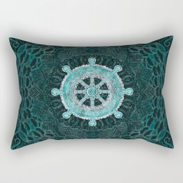 Dharma Wheel - Dharmachakra Silver and turquoise Rectangular Pillow