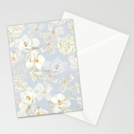 White Floral on Pale Blue Stationery Cards