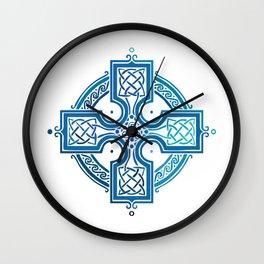 St. Patrick's Day Celtic Blue Cross Wall Clock