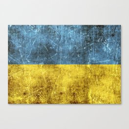 Vintage Aged and Scratched Ukrainian Flag Canvas Print